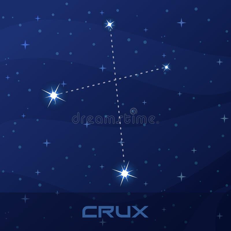 Quid de la constelación, cruz, cielo de la estrella de la noche stock de ilustración