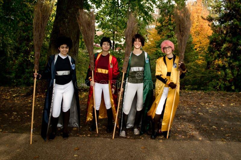 Quidditch spelare på Lucca komiker och lekar 2017 royaltyfri bild