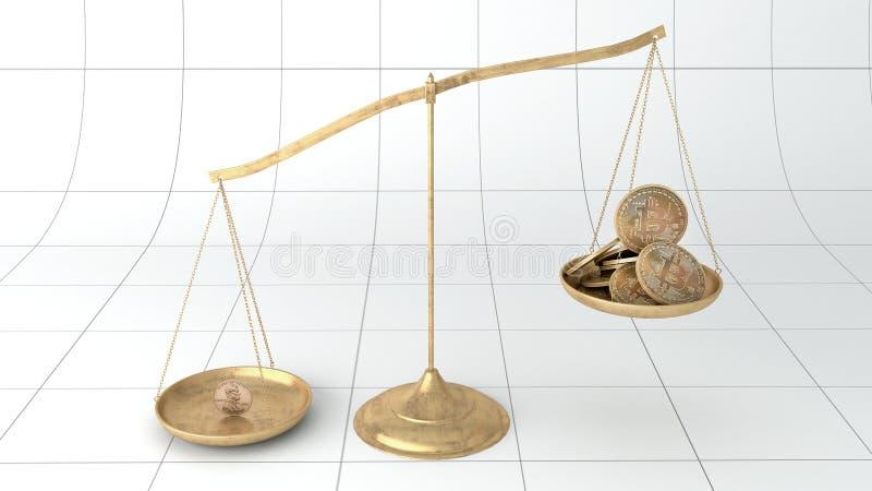 Quiebra del bitcoin de la escala de la moneda ilustración del vector