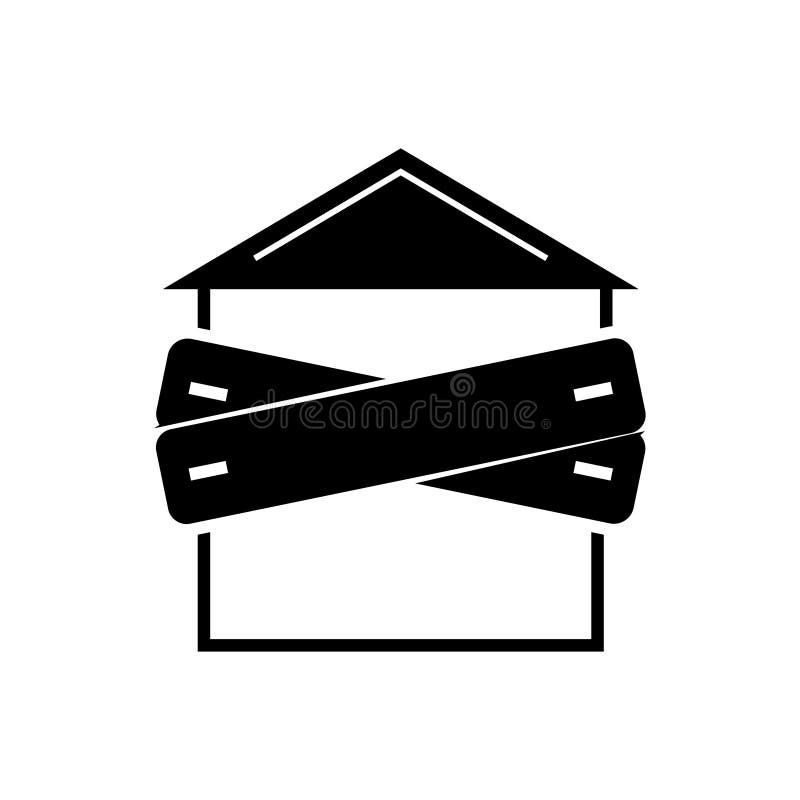 Quiebra - icono subido-para arriba de la casa, ejemplo del vector, muestra negra en fondo aislado libre illustration