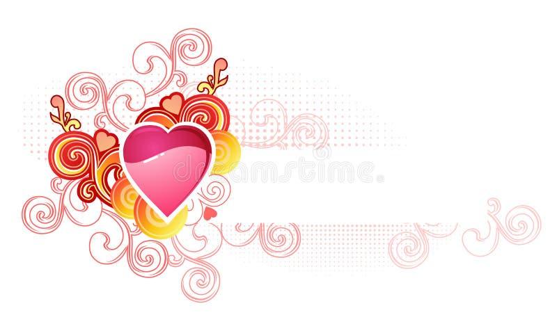 Quiera el corazón con spase/la tarjeta del día de San Valentín y la boda/ stock de ilustración