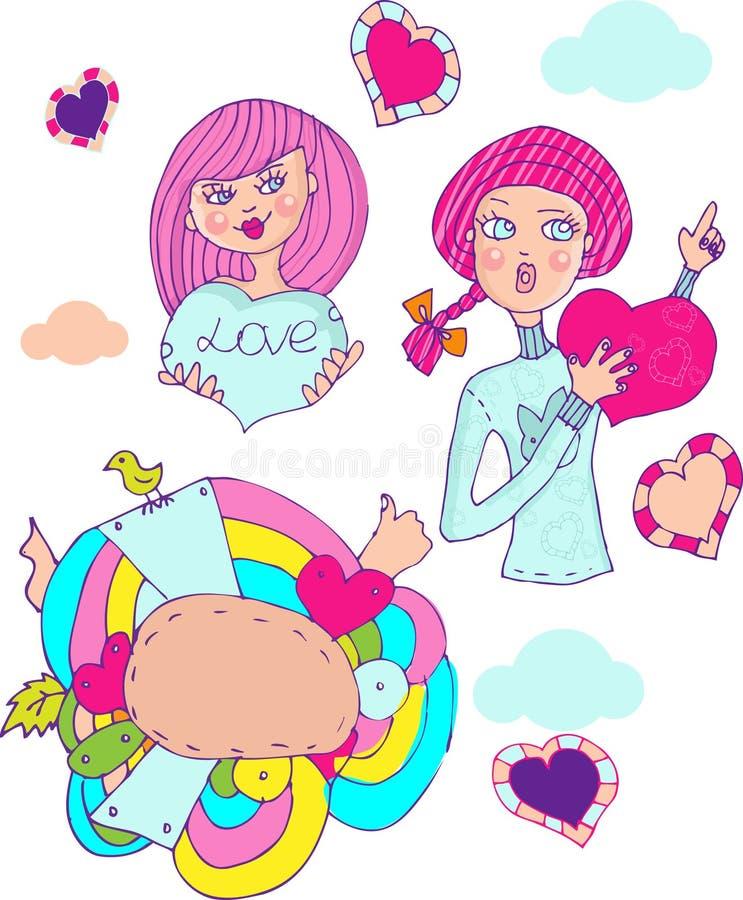 Quiera a la muchacha, emblema de los iconos de la historieta ilustración del vector