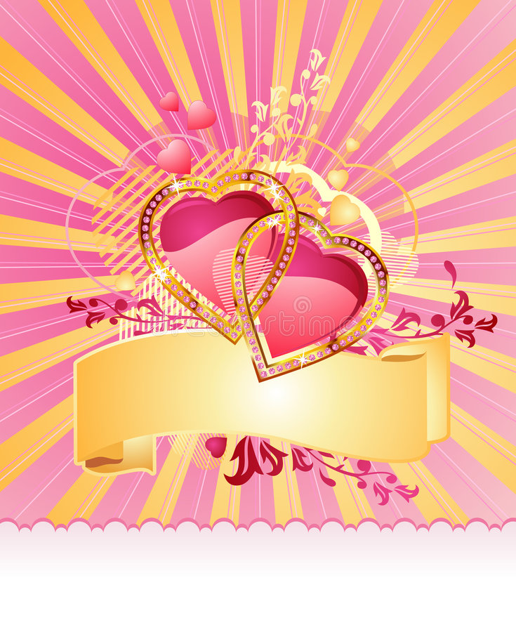 Quiera los corazones/con la bandera/la tarjeta del día de San Valentín/el vector ilustración del vector