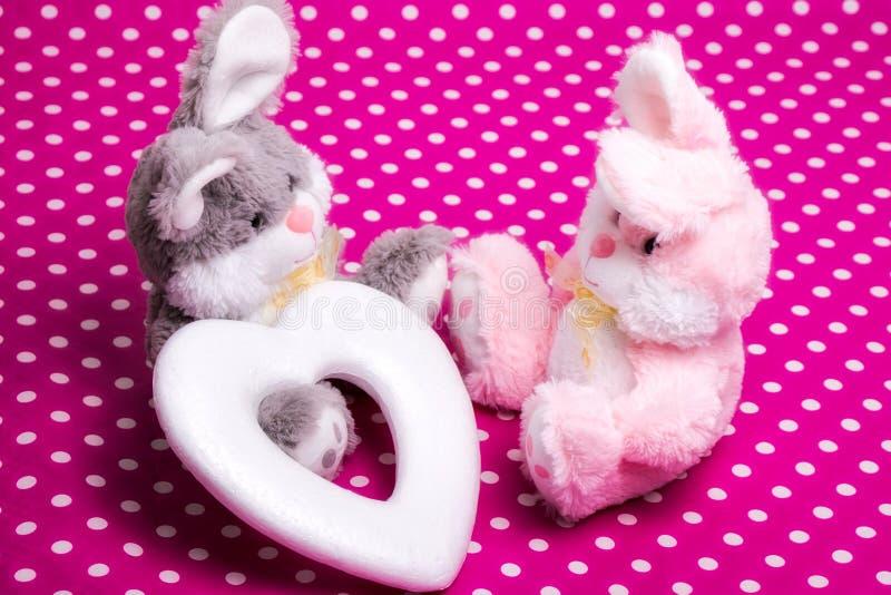 Quiera ser mi tarjeta del día de San Valentín - dos conejitos y un corazón fotografía de archivo