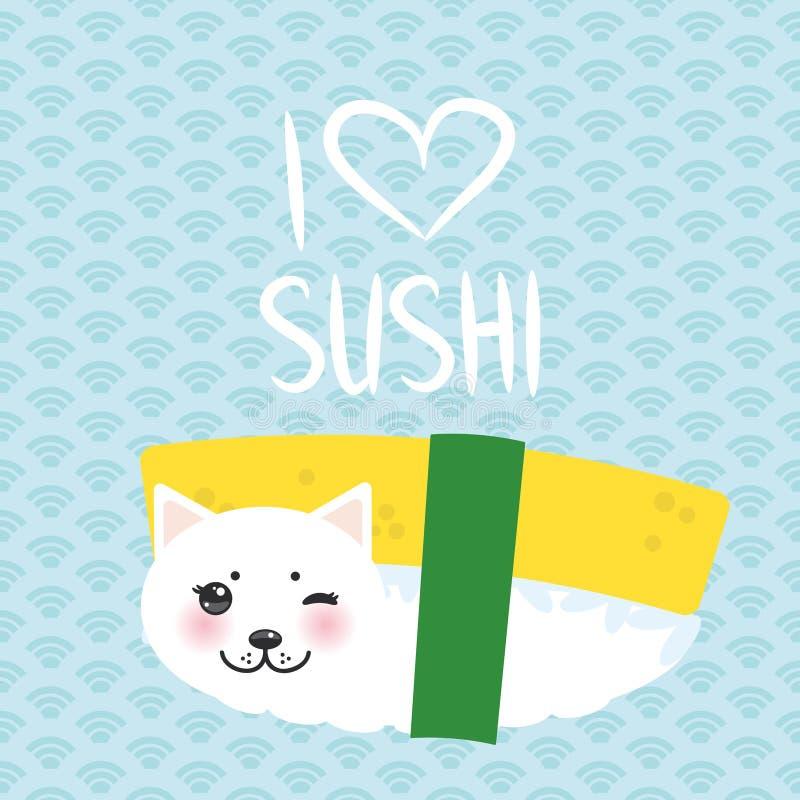 Quiero el sushi Huevo dulce Tamago del sushi divertido de Kawaii y gato lindo blanco con las mejillas y los ojos rosados, emoji F libre illustration