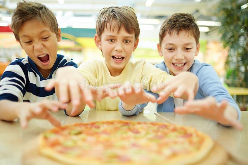 ¡Quiero la pizza! imagen de archivo