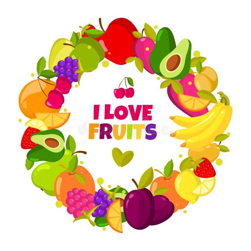 Quiero las frutas Marco orgánico de las frutas del vector aislado Bandera con el ejemplo natural de la comida fresca stock de ilustración