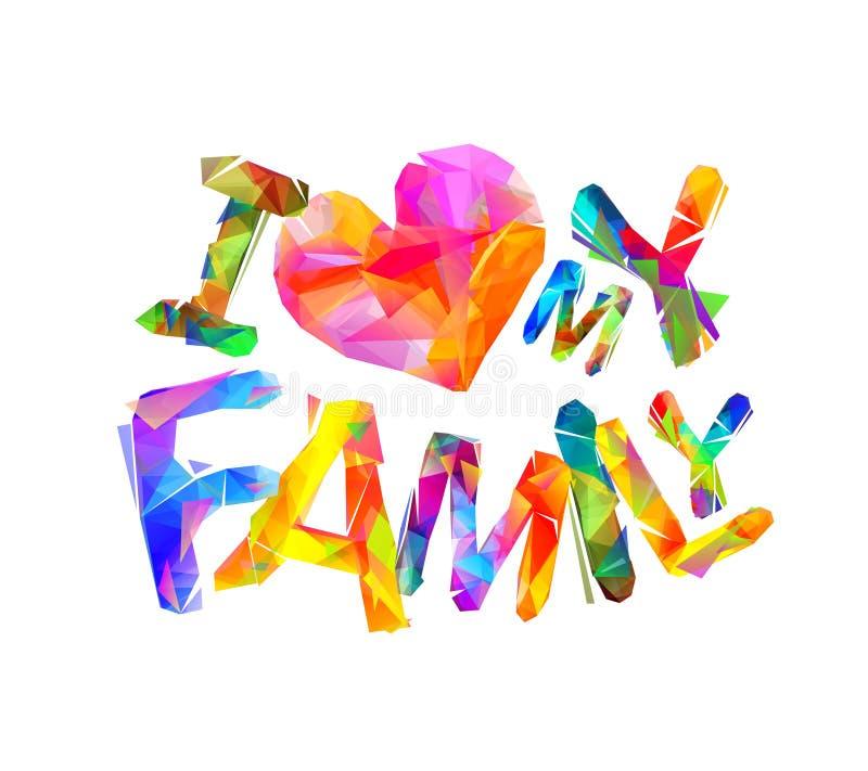 Quiero a mi familia Letras triangulares stock de ilustración