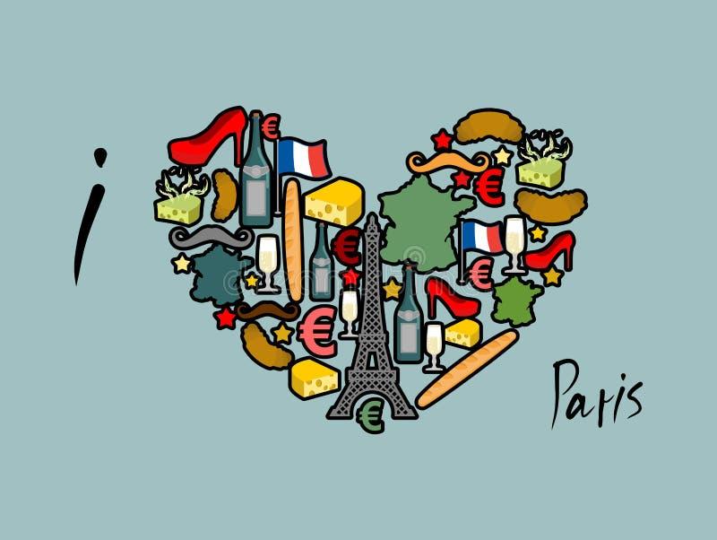 Quiero París Sistema francés tradicional del nacional de iconos en la forma o ilustración del vector
