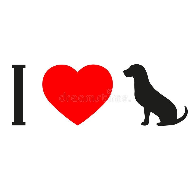 Quiero perros Letras negras en un fondo blanco que pide el amor de animales stock de ilustración