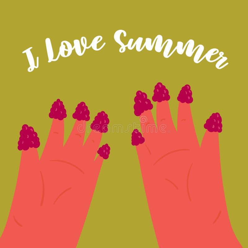 Quiero verano Las muchachas dan con rasberry en los fingeres stock de ilustración