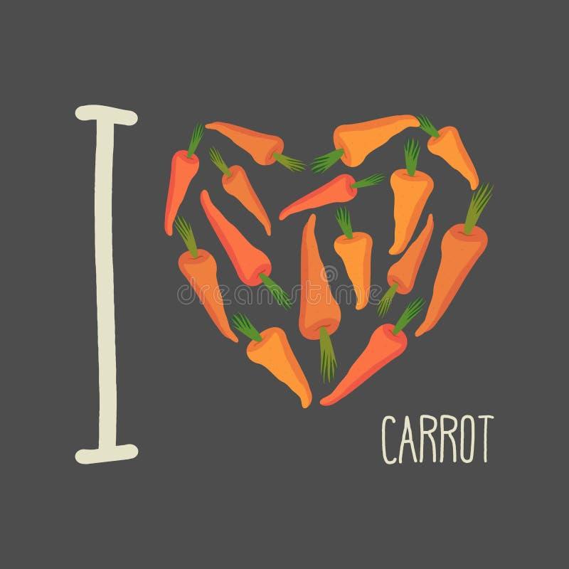 Quiero zanahorias Corazón de zanahorias anaranjadas stock de ilustración
