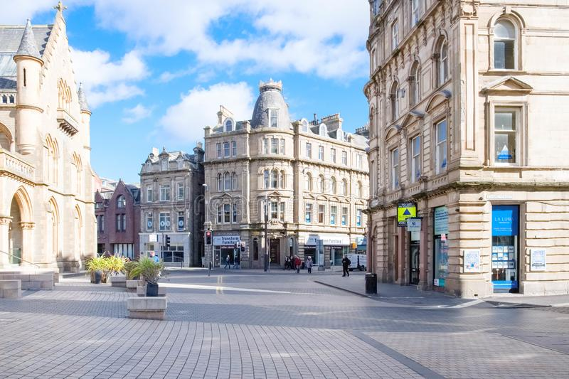 A quiet Albert Square in Dundee`s City Centre in Scotland stock image
