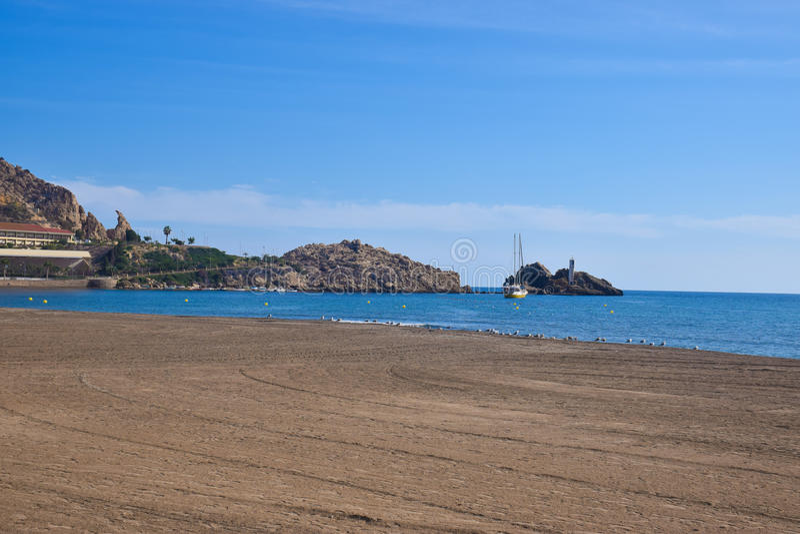 Quiet beach with birds royalty free stock photo