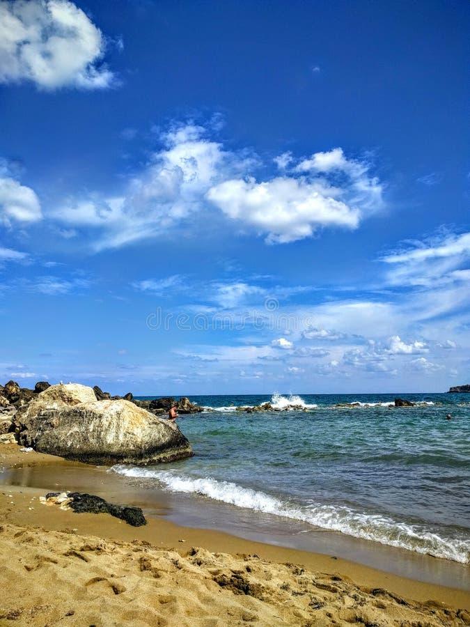 Quiet beach in Crete stock photos