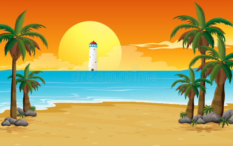 A quiet beach with a lighthouse stock illustration