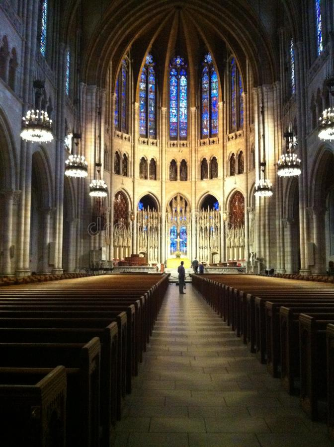 A quiet church before services royalty free stock photo