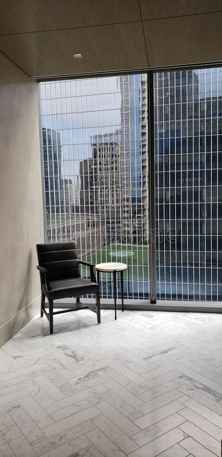 Quiet corner in corporate office in Dallas with view royalty free stock photos
