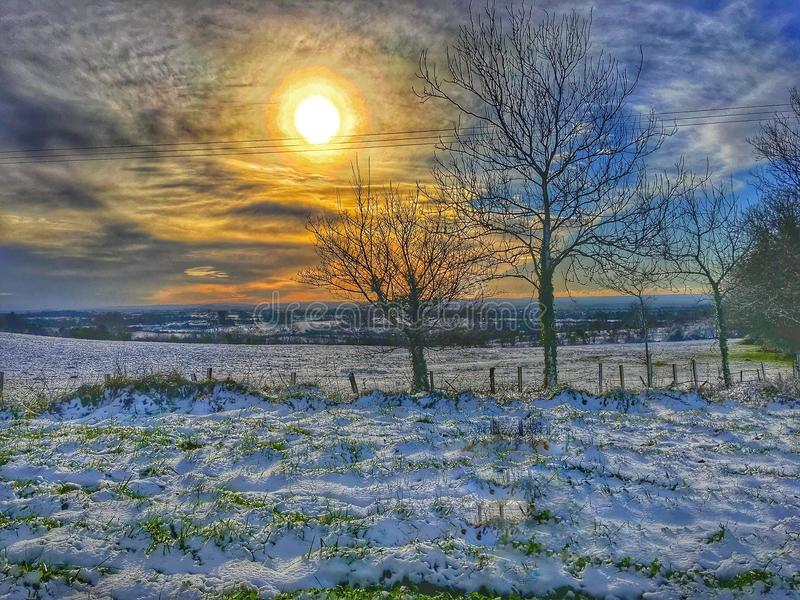 Winter Sun. Snow day in the Mendip royalty free stock photo