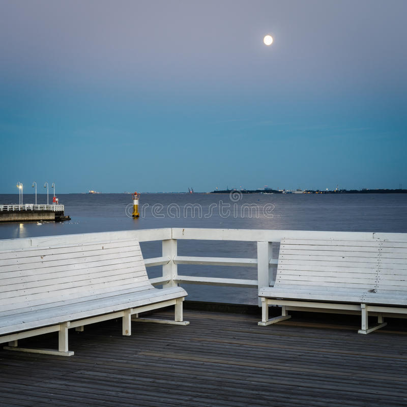Quiet evening with full moon at Sopot Pier. Pomeranian, Poland royalty free stock photography
