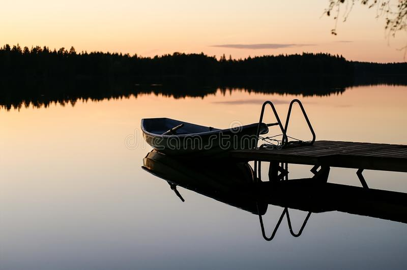 A quiet evening on the lake royalty free stock photo