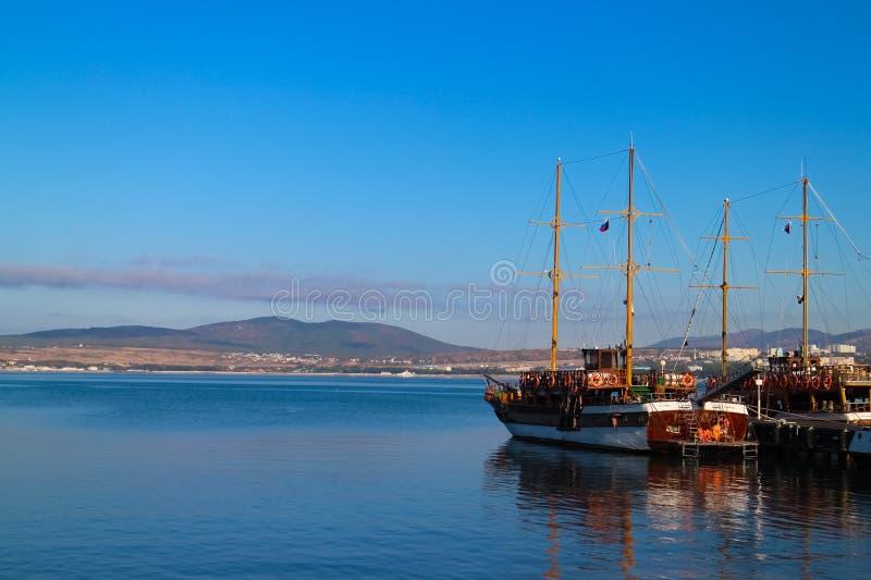A quiet harbor stock image