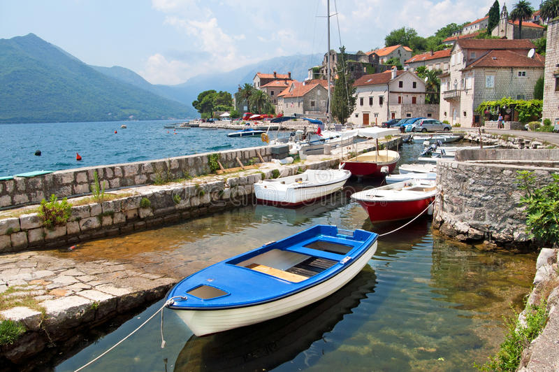 Quiet historic town of Perast, Montenegro royalty free stock images