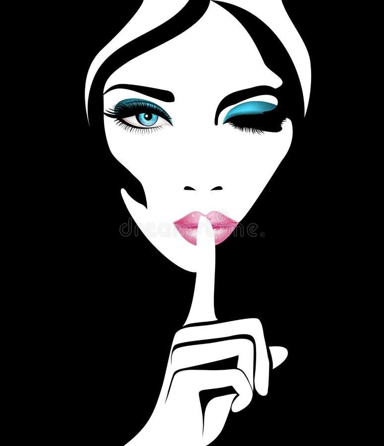 quiet Lagerföra vektorkvinnan med blåa ögon och rosa kanter vektor illustrationer