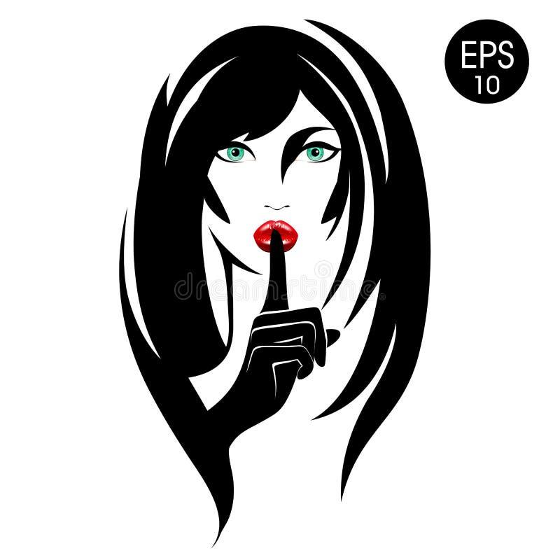 quiet Lagerföra vektorkvinnan med svart hår, gröna ögon och röda kanter royaltyfri illustrationer