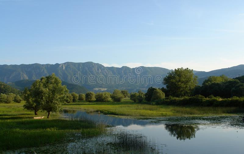 Quiet lake creek on the background of mountains, blue cloudless sky and green trees. Quiet backwater of Lake Skadar on the background of the Balkan Mountains royalty free stock photos