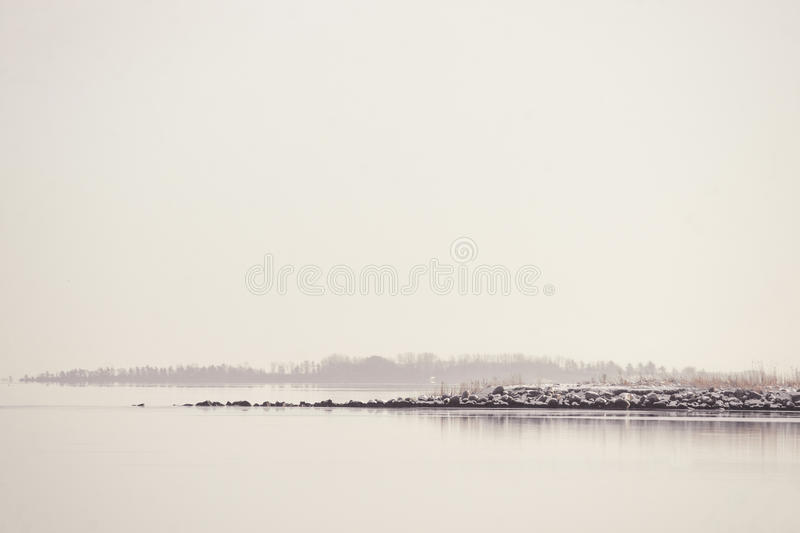 Quiet lake in the morning. Lake landscape a quiet winter morning royalty free stock image