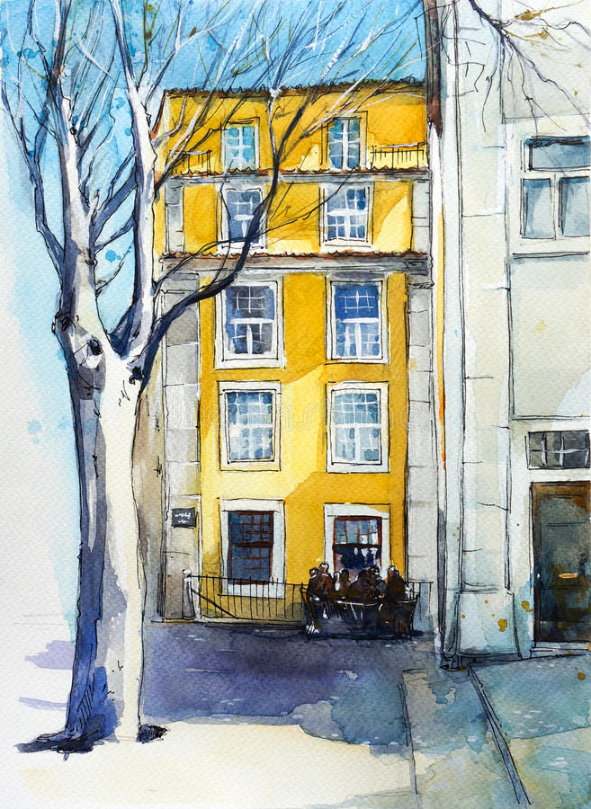 Quiet Lisbon street. Watercolor sketch. Quiet Lisbon street, Watercolor sketch stock illustration