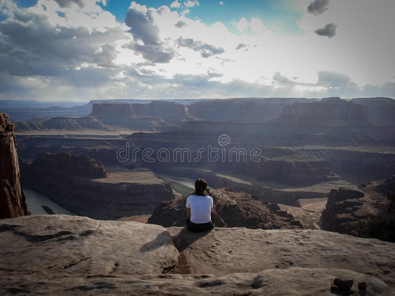 A quiet look at the Colorado River in Dead Horse Point Park. Sky, inspiration, inspirational, adventure, motivation, background, text, quote, motivational stock photography