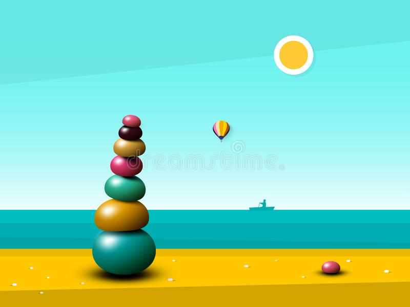 Quiet Peaceful Ocean Landscape with Zen Pebbles Heap. On Beach. Vector Flat Design Illustration with Sea vector illustration