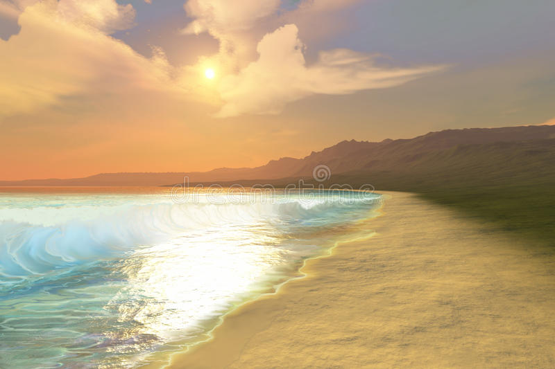 Quiet Places. A beautiful sunset on this quiet peaceful beach with gorgeous water royalty free stock photo