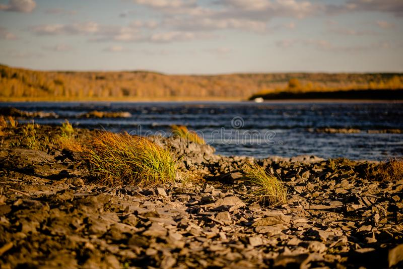Quiet river water in the evening light background. River stones, Pebble river banks.great for gaming background, shot in warm evening light royalty free stock image