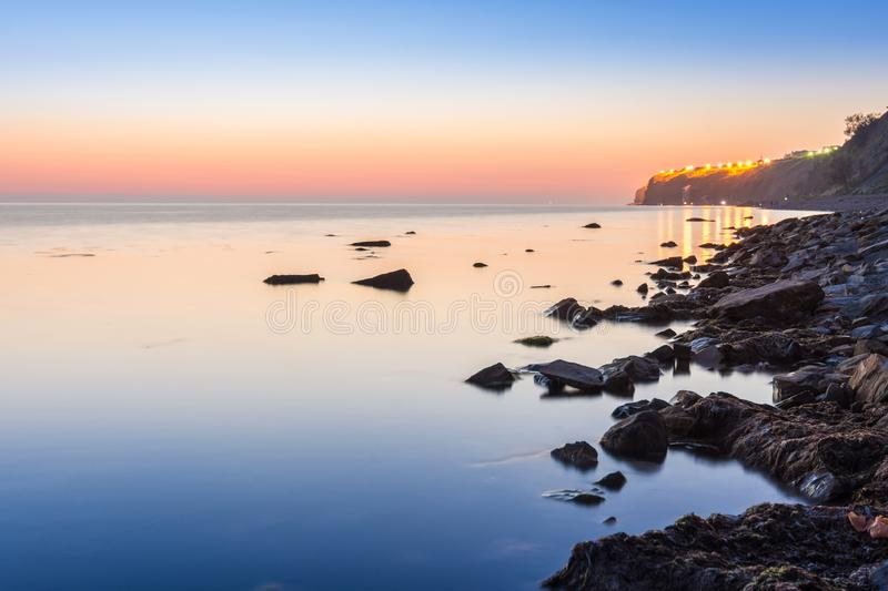Quiet scenic landscape after sunset in the High Coast area of the resort town of Anapa. Russia stock photos