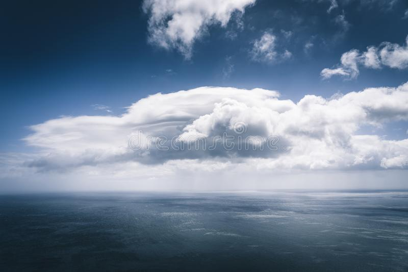 Wuiet sea views with white cloud and storm approaching over Atlantic Ocean. Blue sky relaxing concept,beautiful tropical stock photo