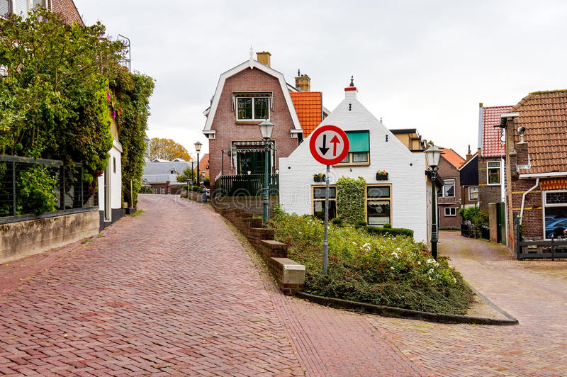 Quiet streets in Urk, the Netherlands stock image