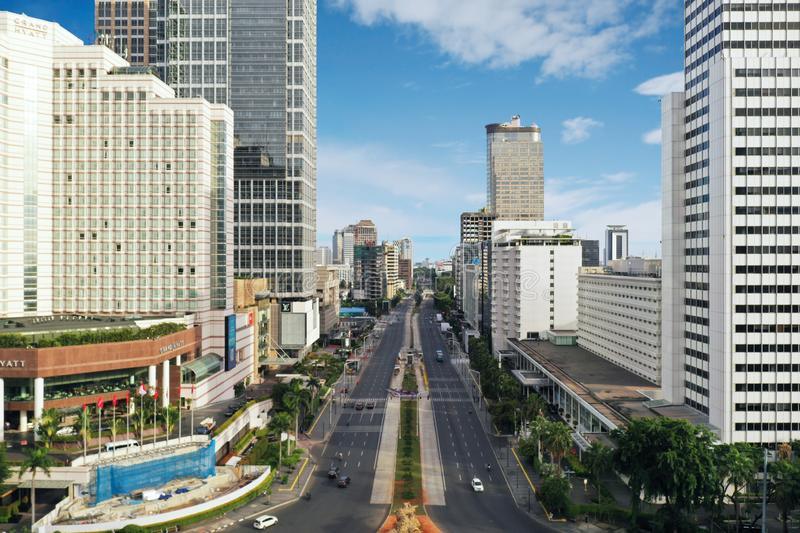 Quiet Thamrin road in Jakarta city royalty free stock photography