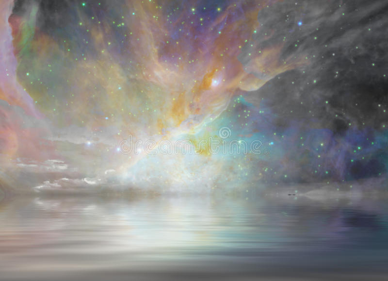 Quiet Waters and Starry. Sky stock illustration