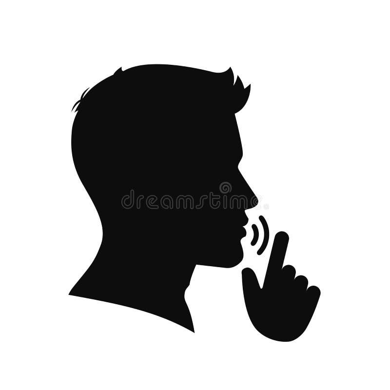 Quiete, per favore Tenga il simbolo di silenzio Taccia vettore del †del segno « illustrazione di stock