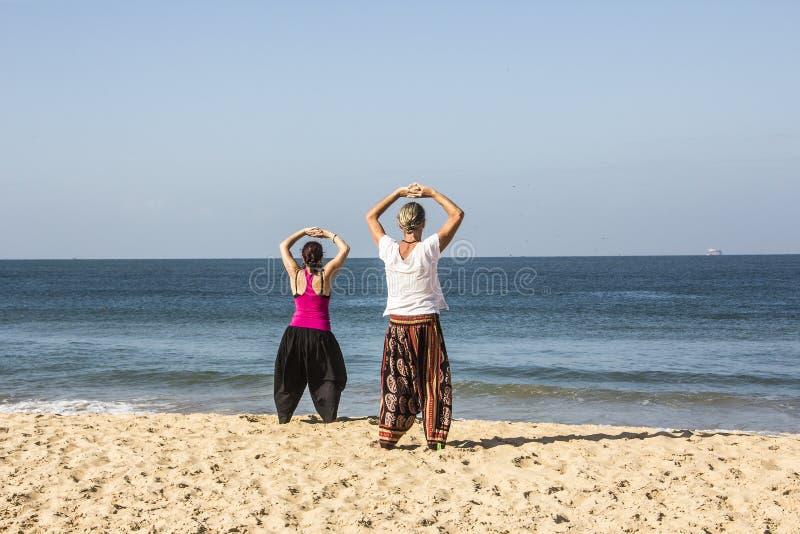 Quigong στην παραλία Goa στοκ φωτογραφία