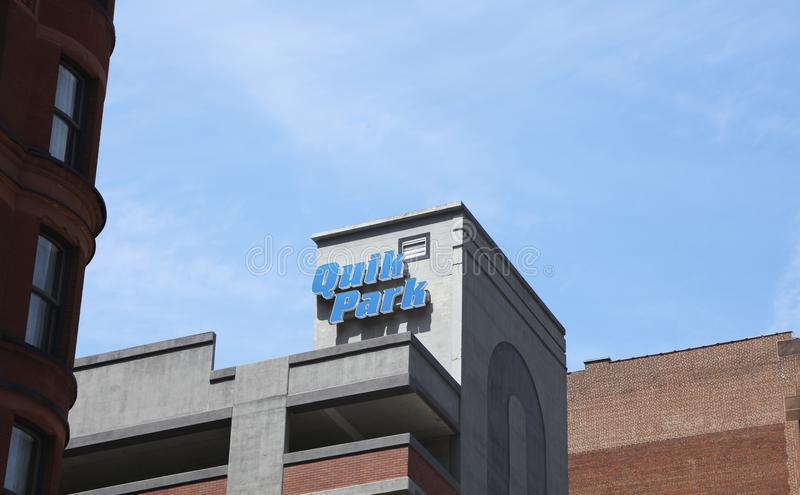 Quik Park Public Parking. Quik Park offers pay to park for the general public in a parking garage stock photos