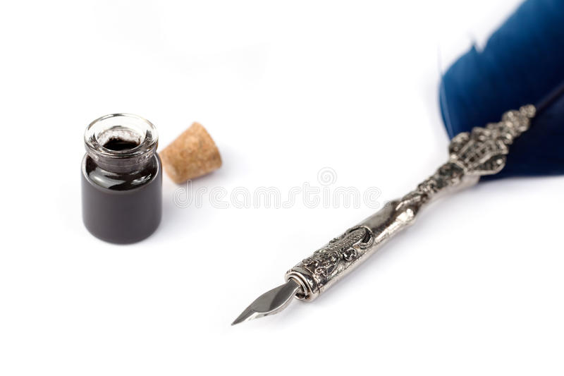 Quill and black ink royalty free stock photos
