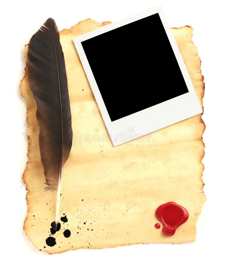 quill för blankt papper arkivfoto