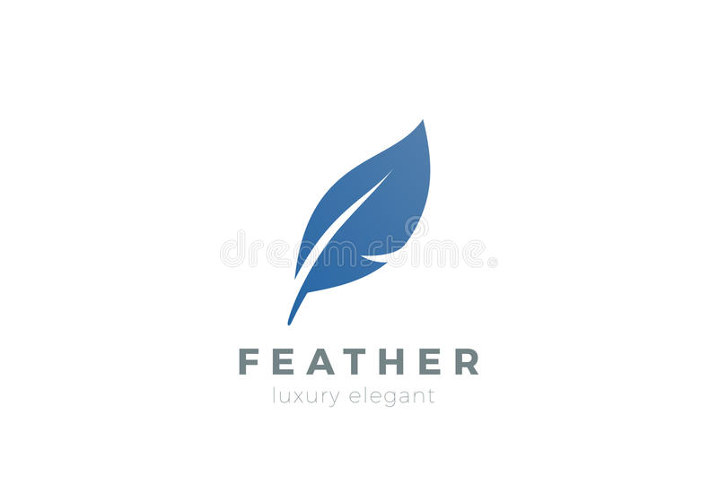 Quill Feather Pen Logo design template. Law, Legal, Lawyer, Copywriter, Writer, Stationary Logotype concept icon stock illustration