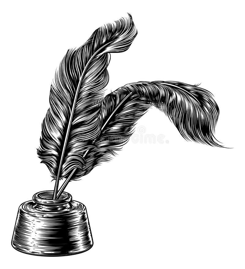 Quill Feather Pens et encrier encastré illustration stock