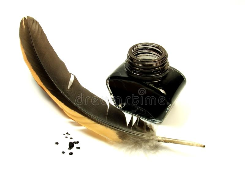Quill and ink stock photo