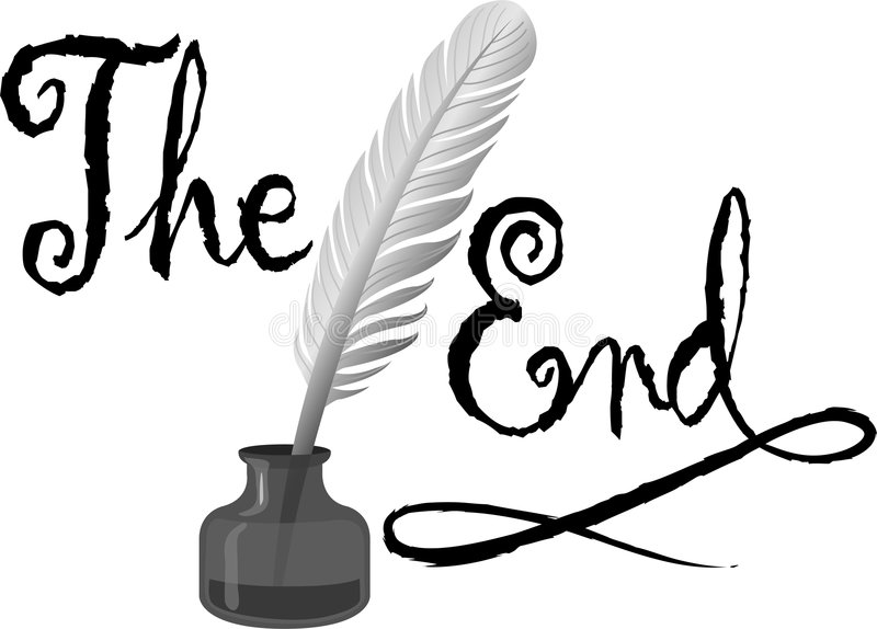 Quill and Ink The End. Illustration of an old-fashioned feather quill pen in an ink bottle and the headline The End